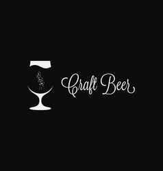 craft beer glass logo on black background vector image