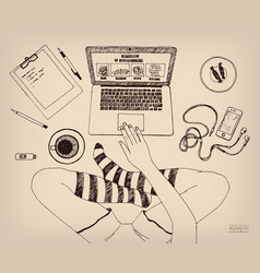 cross-legged woman working on laptop at home legs vector image
