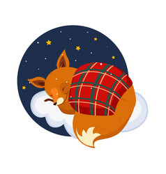 cute cartoon fox sleeping on a cloud covered vector image
