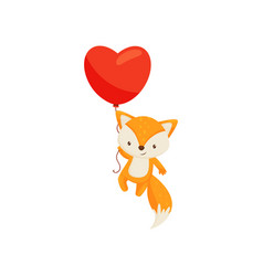 cute fox flying with bright red heart-shaped vector image