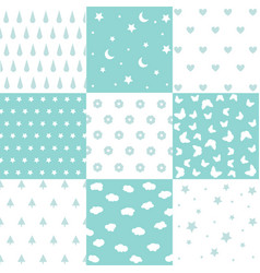 Cute set of kids seamless patterns with fabric tex vector