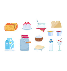 dairy products white milk containers cheese vector image