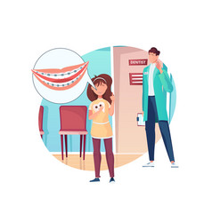 dentistry flat composition vector image