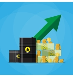 dollars and coins oil barrel chart graph arrow up vector image