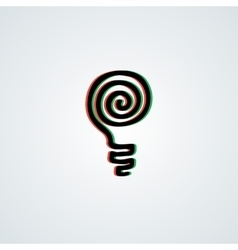 Doodle lamp logo with 3d green-red effect vector