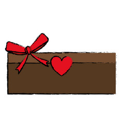 Drawing love cardboard box bow romance present vector