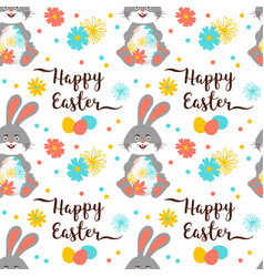easter bunny easter pattern seamless easter vector image