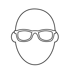Face man wear glasses character outline vector