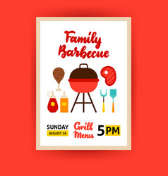 family barbecue poster vector image