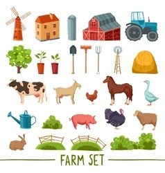 Farm multicolored icon set vector