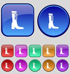 female fall and winter shoe boot icon sign A set vector image