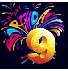 Fireworks Happy Birthday with a gold number 9 vector
