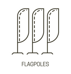 Flagpoles isolated liner icon beach flag vector