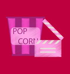 flat icon in shading style popcorn cinema vector image