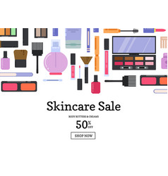 Flat style makeup and skincare sale vector