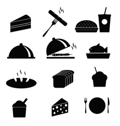 Food icon in black vector