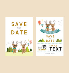 front and back wedding card minimal style vector image
