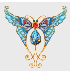 Gold butterfly with blue wings and precious stones vector