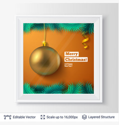 Golden decorative toy ball and fir tree border vector