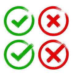 Green red tick cross yes no brush check mark vector