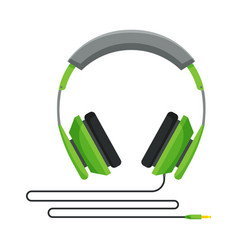 Green wired headphones accessory for music vector