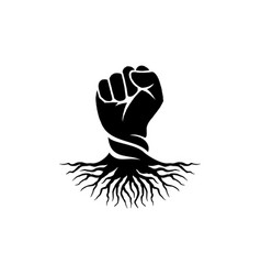 Hand and root logo vector