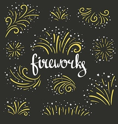 Hand drawn colorful fireworks on black background vector