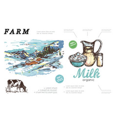 hand drawn farm colorful concept vector image