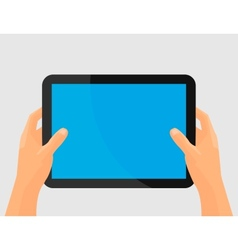 Hands holing tablet computer with blank screen vector