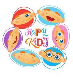 Happy kids logo kindergaten or school for cheerful vector