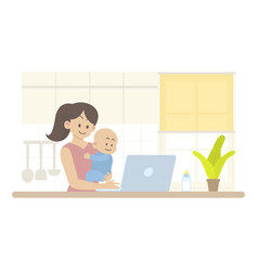 Happy mother baworking in kitchen vector