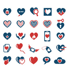 Heart love icon set vector