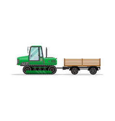 Heavy caterpillar tractor with trailer icon vector