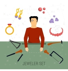 icons set of jeweler profession vector image
