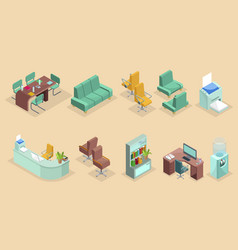 Isometric office interior elements set vector