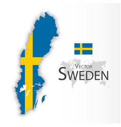 Kingdom of sweden flag and map vector