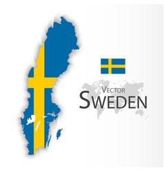 Kingdom sweden flag and map vector