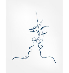 kiss art line isolated doodle vector image