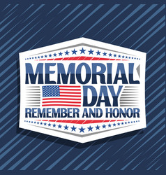 logo for memorial day vector image