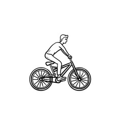 man on bike hand drawn outline doodle icon vector image
