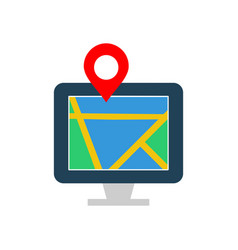 map on monitor flat multi color vector image