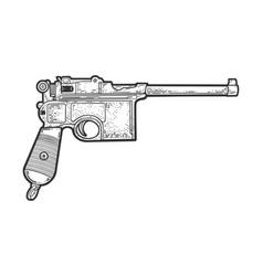 mauser pistol sketch vector image
