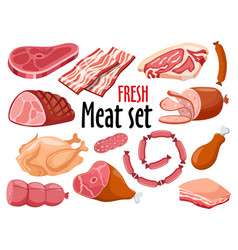 meat set fresh meat icons set vector image