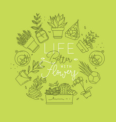 monogram pots with plants life better light green vector image
