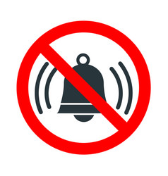 noise not allowed red forbidden sign with ringing vector image