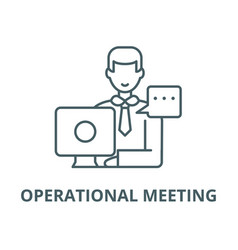 Operational meeting line icon linear vector