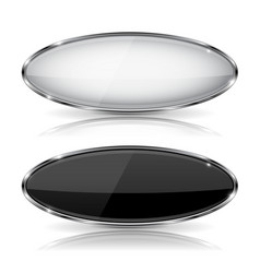 Oval black and white glass buttons with metal vector