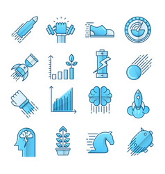 Performance blue icons set vector