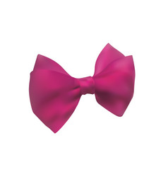 Pink bow out of satin ribbon decorative bowknot vector