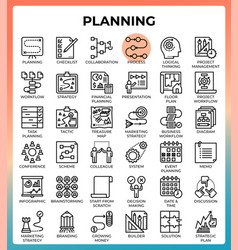 Planning concept icon set vector